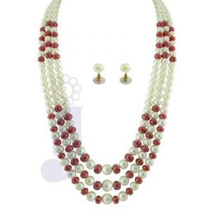 Jpearls 3 String Ruby Necklace