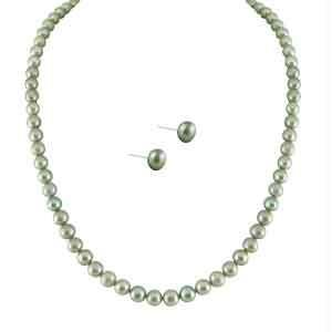 triveni,lime,flora,clovia,jpearls,sleeping story Pearl Jewellery Sets - JPEARLS SIMPLE GREY PEARL SET