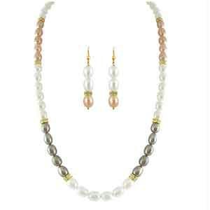 shonaya,soie,vipul,kaamastra,the jewelbox,sinina,jagdamba Pearl Necklaces - JPEARLS LIFELONG MULTI COLOR PEARL SET
