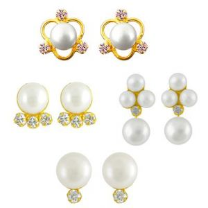 Jpearls Combo Of Pearl Earrings