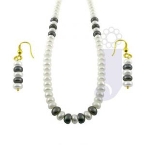Jpearls White And Grey Pearl Set