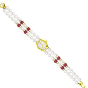 Women's Watches   Round Dial   Analog - Sri Jagdamba Pearls Classic Red Pearl Watch ( JDEC-0428 )