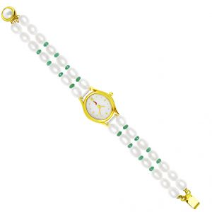 Jagdamba Watches - Sri Jagdamba Pearls Sea-Blue Oval Pearl Watch ( JDEC-0429 )