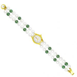 Jagdamba Watches - Sri Jagdamba Pearls Classic Green Pearl Watch ( JDEC-0430 )