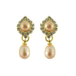 Triveni,Platinum,Jagdamba,Asmi,Kalazone,Pick Pocket,La Intimo Pearl Earrings - Jpearls Shimmer Pearl hangings Earrings