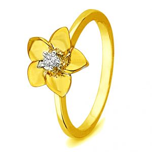 Jpearls Flower Shape Diamond Finger Ring Indian Size- 14.