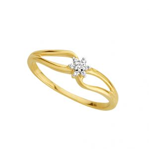 Jpearls Flower Shape Diamond Finger Ring Standard Indian Size- 14
