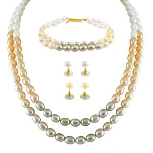 Jpearls Colourful Necklace Set With Bracelet