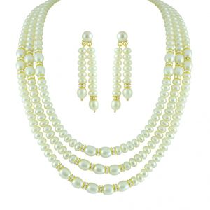lime,surat tex,soie,jagdamba,sangini Pearl Jewellery Sets - JPEARLS THREE STRING OVAL BUTTON PEARL SET