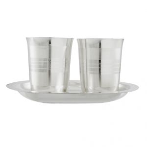 Jagdamba Home Decor & Furnishing - Jpearls Diwali Special Silver Glass With Tray