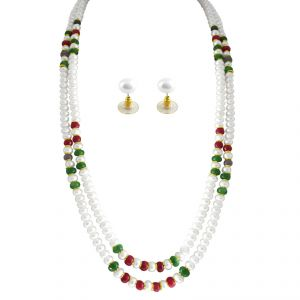 Kiara,La Intimo,Shonaya,Avsar,Valentine,Jagdamba,Pick Pocket,Oviya,Hoop Women's Clothing - Sri Jagdamba Pearls Delusion Pearl Necklace Set ( JPAPL-14-30_2018 )