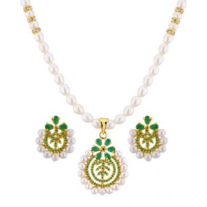 platinum,port,mahi,jagdamba,kaamastra Necklace Sets (Imitation) - Sri Jagdamba Pearls Elegant Pearl Pendant Set ( JPAPL-16-012 )