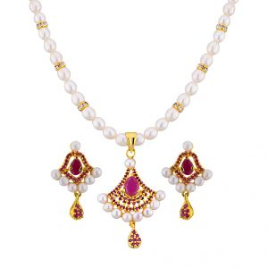 Jagdamba,Avsar,Lime,Valentine,Sangini Women's Clothing - Sri Jagdamba Pearls Awesome Pearl Pendant Set ( JPAPL-16-013 )