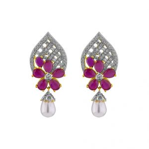 jagdamba,surat diamonds,valentine Earrings (Imititation) - Sri Jagdamba Pearls Vibrant Earrings ( JPAPL-16-027 )