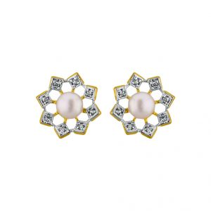 lime,surat tex,soie,jagdamba Earrings (Imititation) - Sri Jagdamba Pearls Sun Flower Earrings JPAPL-16-028