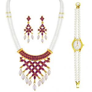 Sri Jagdamba Pearls Pearl Set With Pearl Watch Code Jpapl-16-060nc