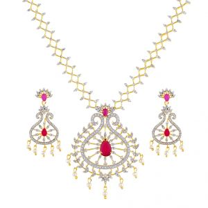 Blushing Cz Necklace Set Code-jpapl-17-053