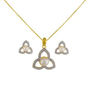 Bloom Cz Pearl Pendant Set Code-jpapl-17-069