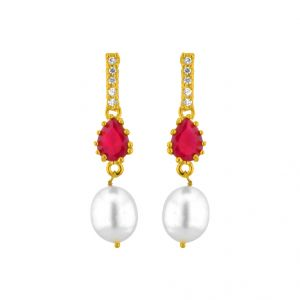Rcpc,Ivy,Soie,Bagforever,Flora,Triveni,Jagdamba,Sleeping Story Pearl Earrings - Red Drop Pearl Earrings