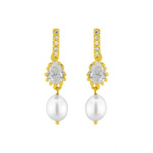 Jagdamba,Avsar,Lime,Kiara,Hoop Pearl Earrings - Shiny  Pearl Earrings