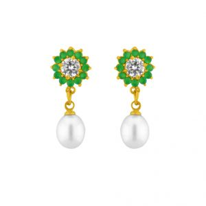 Sparkles,Jagdamba,Platinum,Clovia Women's Clothing - Sri Jagdamba Pearls Ravishing Pearl Earrings ( JPAPR-15-016 )