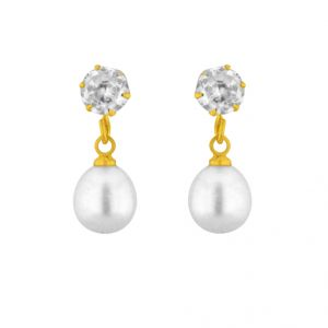 Sparkles,Jagdamba,Platinum,Mahi Women's Clothing - Sri Jagdamba Pearls White Drop Pearl Earrings ( JPAPR-15-019 )