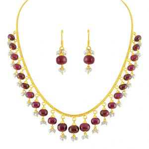 Jpearls Ruby Drop Gold Set