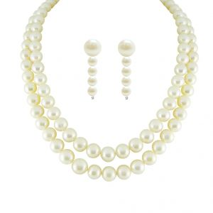Jpearls New Dual Line Classic Pearl Necklace