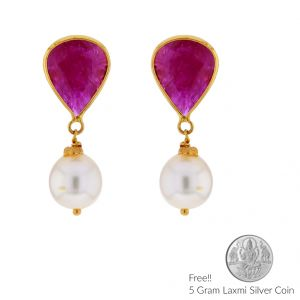 Sri Jagdamba Pearls 22kt (916) Ruby Gold Earrings(code Jpaug-17-113)