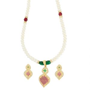 Jagdamba,Avsar,Lime,Kiara,Oviya Women's Clothing - Belonging Pearl Necklace ( JPAUG-18-04 )