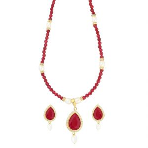 jagdamba,surat diamonds,valentine,jharjhar,asmi,tng,cloe,flora Necklace Sets (Imitation) - Charming Red Stone Necklace ( JPAUG-18-06 )