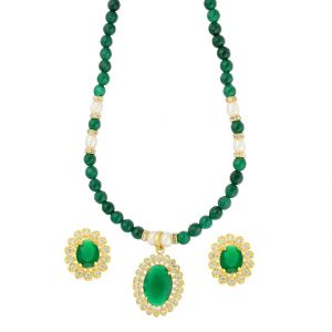 Hoop,Shonaya,Arpera,The Jewelbox,Gili,Tng,Jagdamba,Port,Jpearls,Motorola Women's Clothing - Creative Green Stone Necklace ( JPAUG-18-07 )