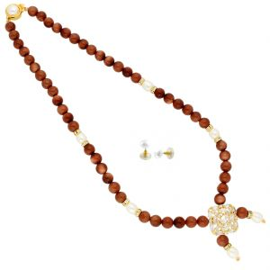 Avsar,Ag,Lime,Jagdamba Women's Clothing - Sandstone Pearl Necklace ( JPAUG-18-08 )
