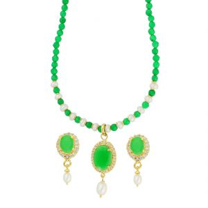 jagdamba,avsar,kiara Necklace Sets (Imitation) - Desire Green Stone Necklace ( JPAUG-18-11 )