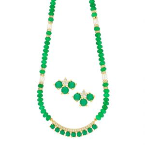 triveni,platinum,jagdamba,asmi,kalazone,kiara,surat diamonds Necklace Sets (Imitation) - Simple Green Necklace ( JPAUG-18-12 )