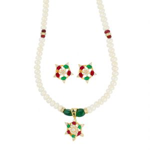 triveni,platinum,jagdamba,estoss,surat diamonds Necklace Sets (Imitation) - Encouraged Pearl Necklace ( JPAUG-18-15 )
