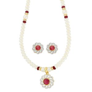 The Jewelbox,Jpearls,Port,Kalazone,Unimod,Cloe,Jagdamba,Sleeping Story Women's Clothing - Flourish Pearl Necklace ( JPAUG-18-16 )