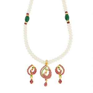 Jagdamba,Clovia,Flora,Avsar Women's Clothing - Peacock Pearl Necklace ( JPAUG-18-17 )