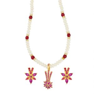 Jagdamba,Kalazone,Flora,Arpera,The Jewelbox,Shonaya,Sangini,Estoss Women's Clothing - Fantabulous Pearl Necklace ( JPAUG-18-18 )