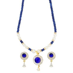 Kalazone,Flora,Vipul,Avsar,Tng,Jagdamba Women's Clothing - Feisty Blue Stone With Pearl Necklace ( JPAUG-18-19 )