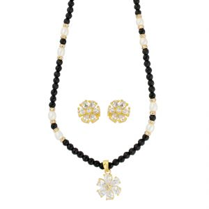 Jagdamba,Kalazone,Flora,Arpera,The Jewelbox,Shonaya Women's Clothing - Star Pearl Necklace ( JPAUG-18-22 )