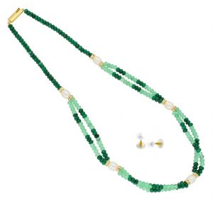 triveni,platinum,jagdamba,flora,bagforever,surat diamonds,unimod Necklace Sets (Imitation) - Harmonious Crystal Necklace ( JPAUG-18-24 )