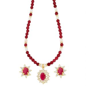 Kiara,Sparkles,Jagdamba,Platinum Women's Clothing - Brilliance Red Stone Pearl Necklace ( JPAUG-18-29 )