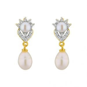 Triveni,Platinum,Jagdamba,Asmi Pearl Earrings - Jpearls Sparkle Drop CZPearl Earrings
