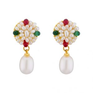 Jagdamba,Clovia,Vipul,Ag Pearl Earrings - Jpearls  Graceful Drop Pearl Earrings