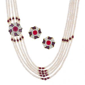 surat tex,soie,jagdamba,sangini Pearl Necklaces - Jpearls Imperial 5  Line Necklace Set