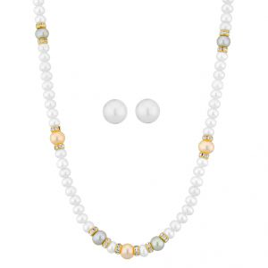 port,fasense,triveni,jagdamba,kalazone,bikaw Necklace Sets (Imitation) - Sri Jagdamba Pearls Divine White Pearl Necklace ( JPFB15-108 _2018)