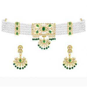 Jagdamba Pearl Necklaces - Sri Jagdamba Pearls Green stone Choker Set-JPFB15-127