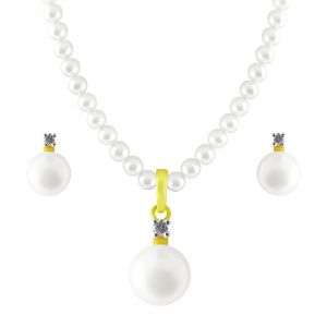 Jpearls Ostentatious Diamond Pearl Pendant Set