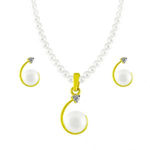 Jpearls Half- Moon Diamond Pearl Pendant Set